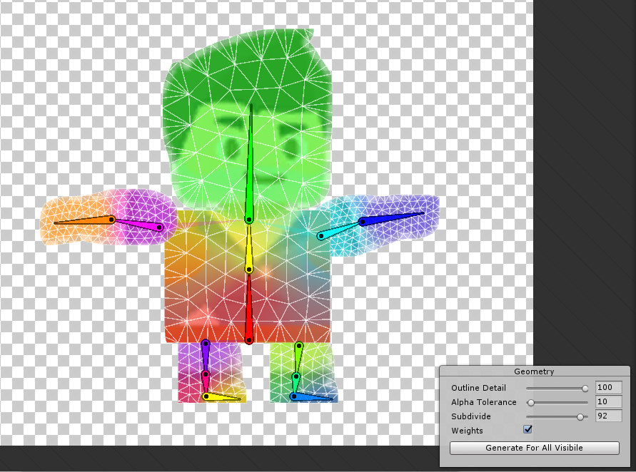 Weight gradients for rigging in sprite editor in Unity