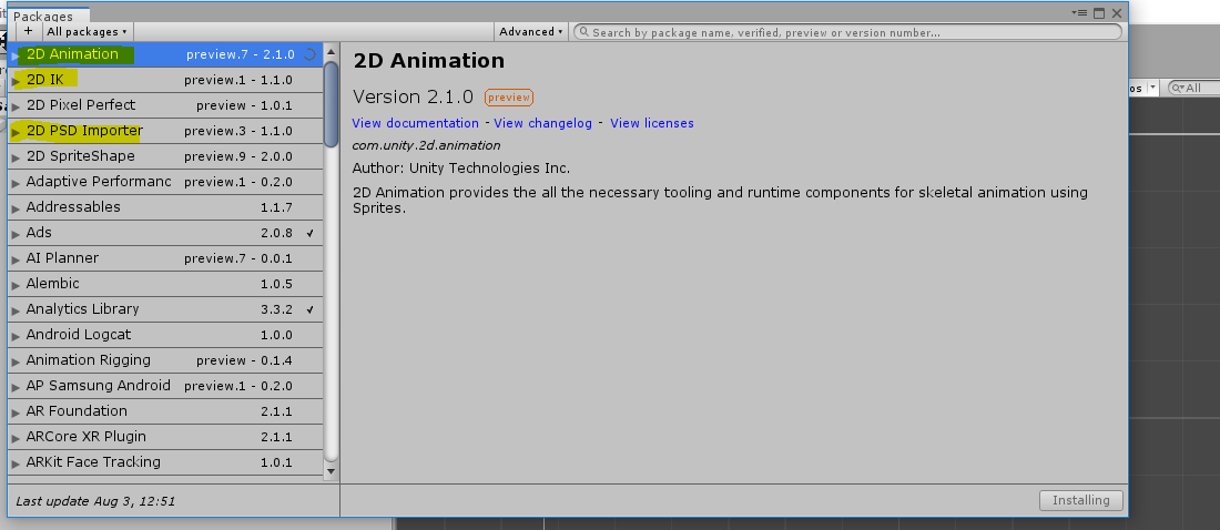 2D Animation package for Unity