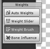 Weight options in Unity with Weight Brush selected