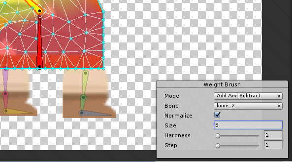 Weight brush settings window in Unity