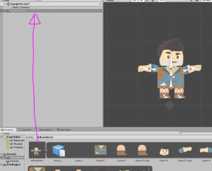 2D Adventurer character dragged into Unity Hierarchy