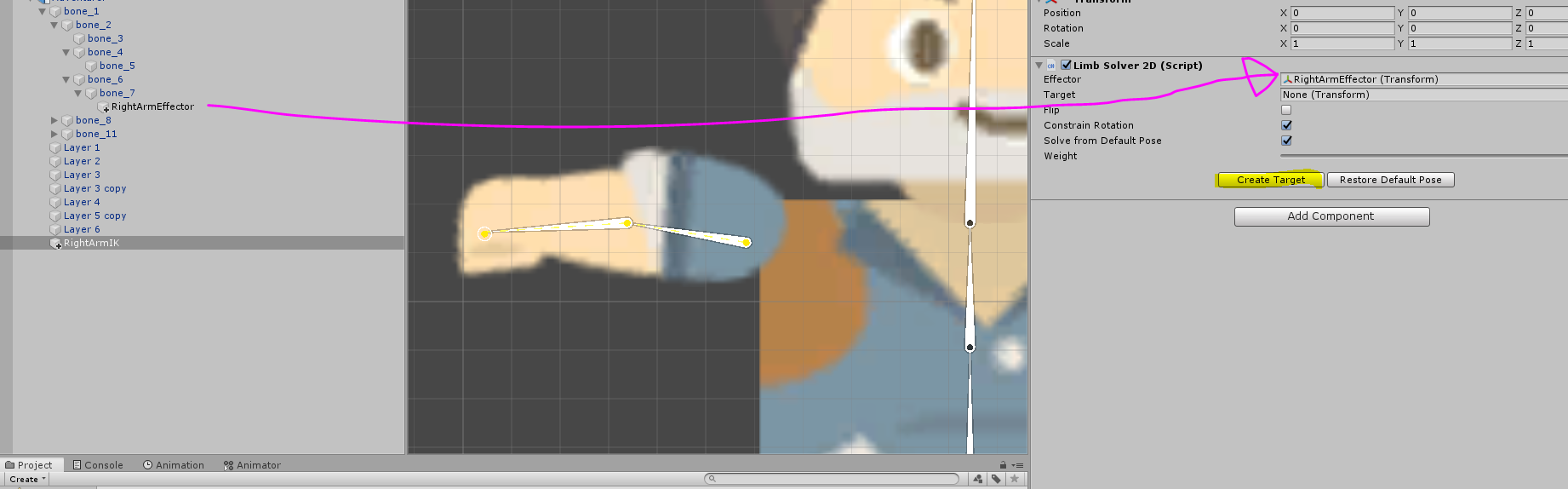 2D character object part being dragged to Unity Inspector component