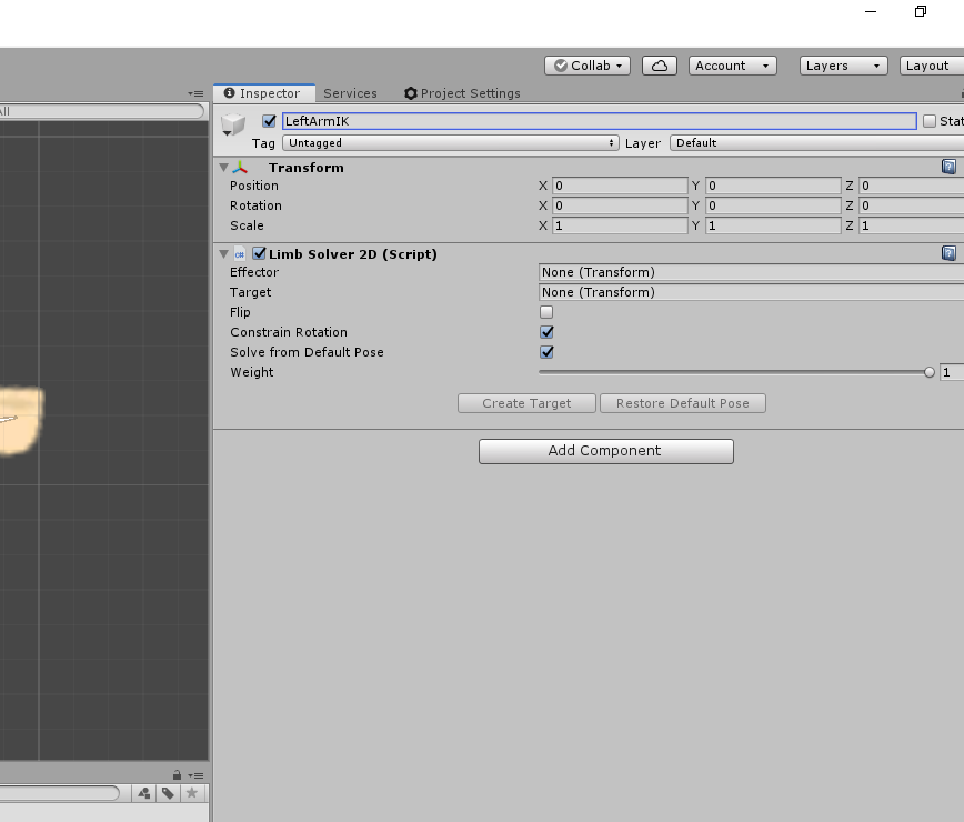 Unity Inspector for Left arm IK bone