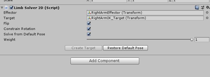 Unity Limb Solver 2D component options