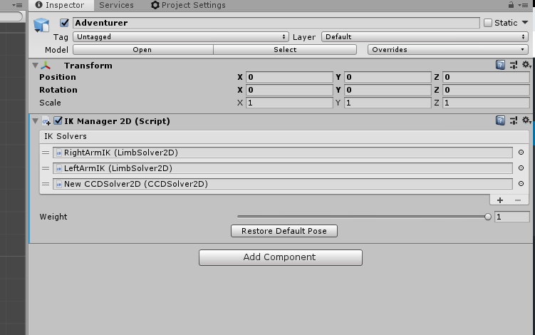 IK Manager 2D Unity Component with IK Solvers applied