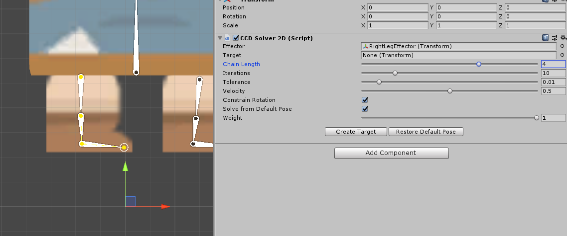 Unity CCD Solver 2D Component with Chain Length adjusted