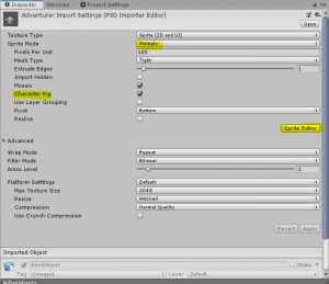 Unity Inspector with Sprite Mode set to Multiple