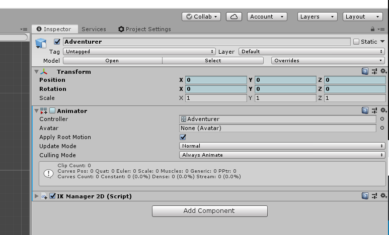 A view of the Unity Animator component.