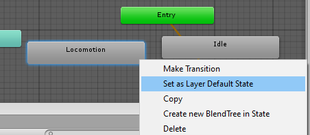 Setting the Blend Tree to a default state