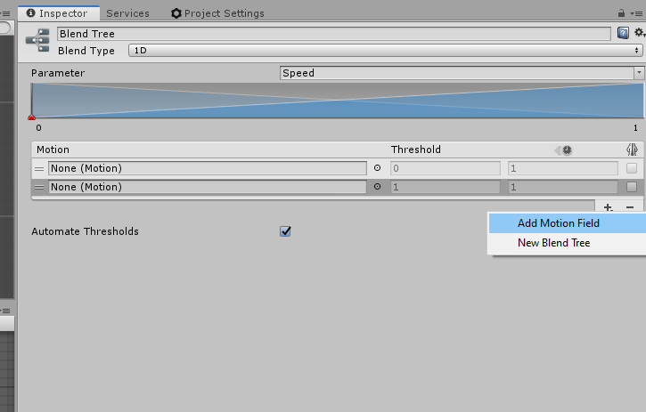 Adding motion fields on this blend tree.