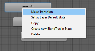 Creating a transition from the JumpUp state to the MidAir state