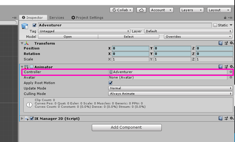 A closer look at the Controller field on the Animator component.