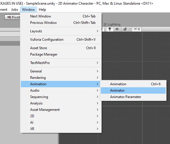 Accessing the Unity Animator window.
