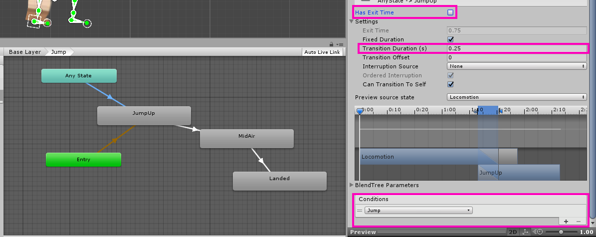 Highlighting the settings on the AnyState -> JumpUp transition