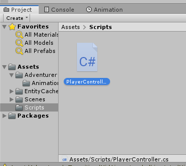 A newly created script called PlayerController