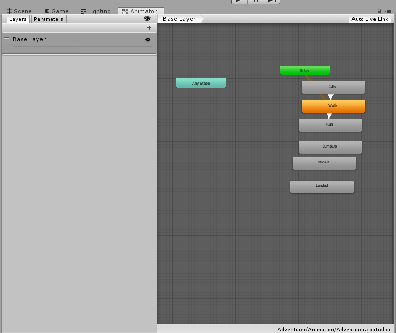 Another view of the Unity Animator Controller.