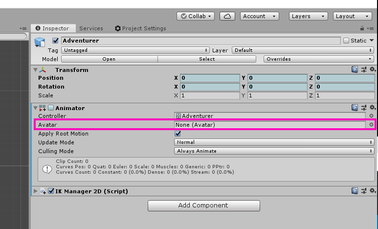 The Avatar field on the Unity Animator component.