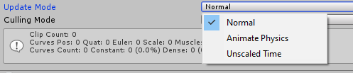 Update mode on the Unity Animator Component.