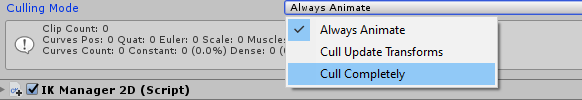 Culling Mode on the Unity Animator Component.