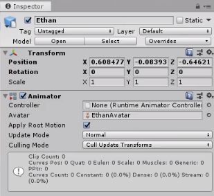 Unity Inspector for 3d model of Ethan