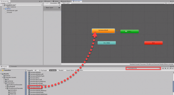 Human walk animation being add to states in Unity
