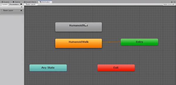 Human run animation being added to Unity states