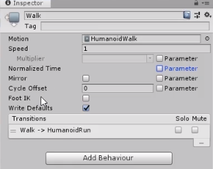 Inspector in Unity showing Human walk animation