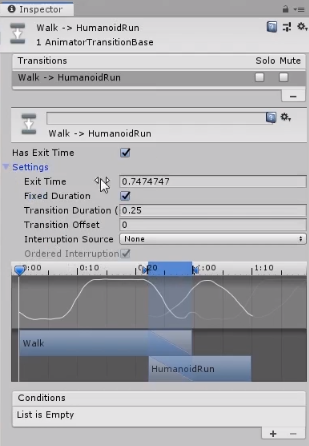 Unity inspector with walk to run animation transitions