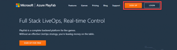 Microsoft Azure PlayFab website