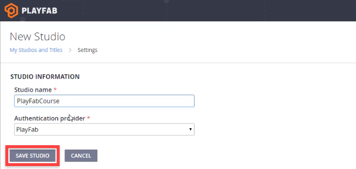 Azure PlayFab New Studio setup screen