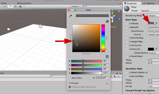 Unity color picker for floor material