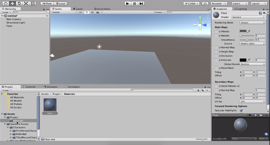 Floor object added to Unity scene