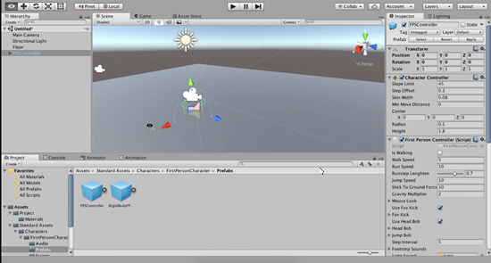 FPSController Prefab added to Unity scene