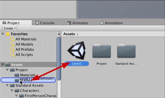 Level 1 Unity scene added to Scenes Folder