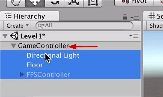 GameController in Unity Hierarchy