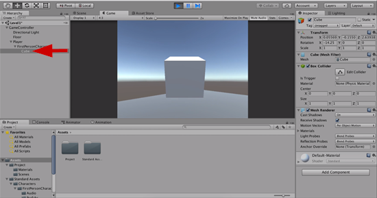 Cube object added to Unity scene