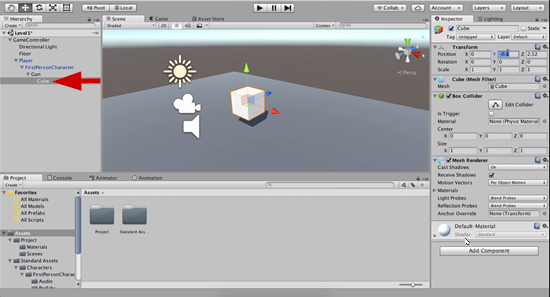 Cube object made child of gun object in Unity