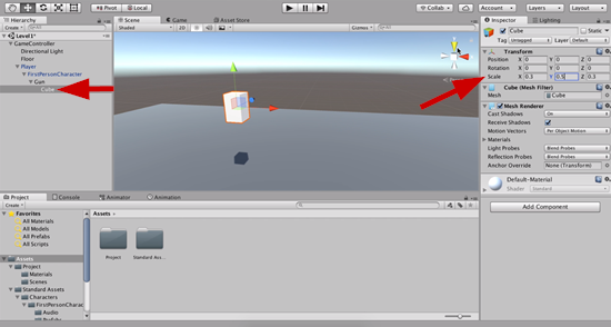 Cube object in Unity scaled
