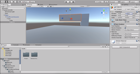 Unity cubes connected to make gun shape