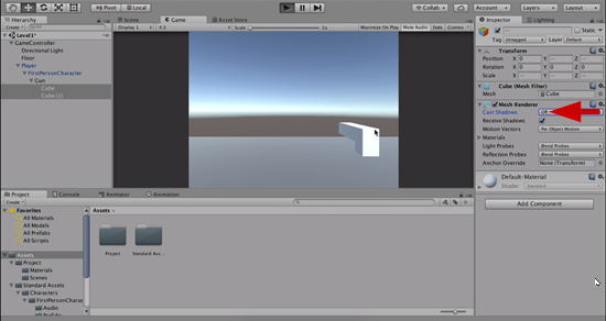 Unity with Shadow Casting disabled for object