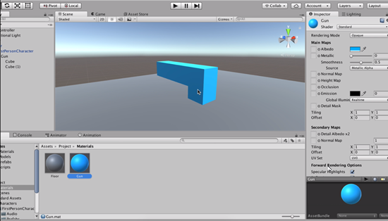 Finished gun object in Unity