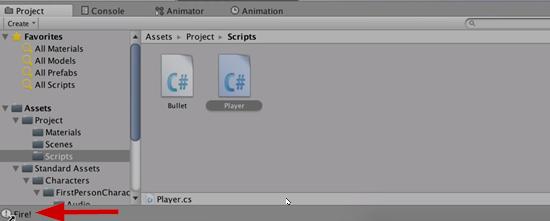 Player script as seen in Unity scripts folder