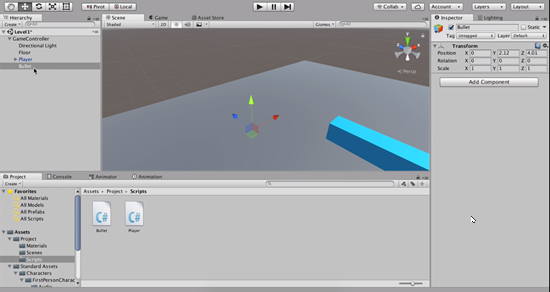 Empty game object moved in Unity scene