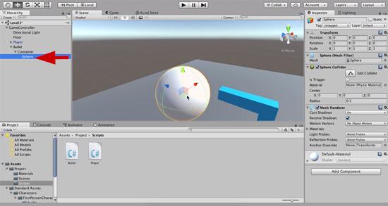 Sphere added to Unity scene