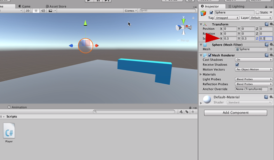 Sphere object resized to bullet size in Unity