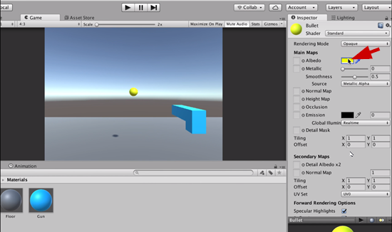 Bullet object with yellow material added in Unity