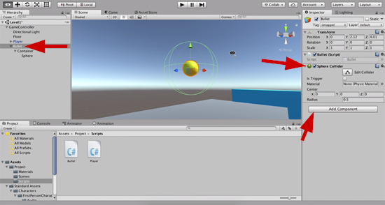 Bullet sphere collider scaled in Unity