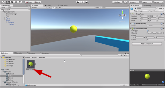 Complete bullet object in Unity