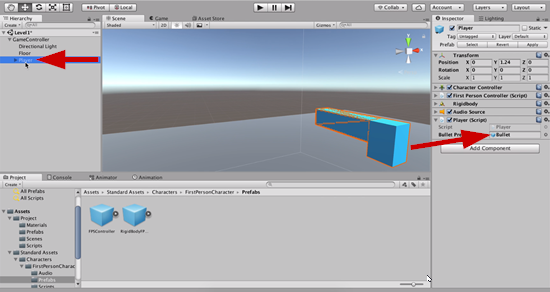 Bullet prefab added to Player script in Unity