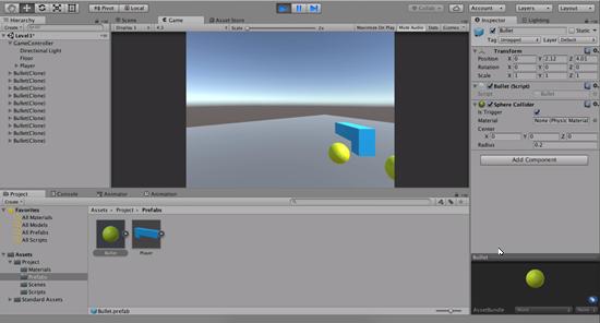 Bullet objects instantiated in Unity scene